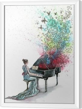 Obraz na płótnie w ramie Fortepian muzyka (seria C)