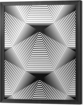Obraz na płótnie w ramie Geometryczny wzór bez szwu monochromatyczny stripy, czarne i białe ve