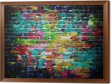Obraz na płótnie w ramie Graffiti mur ceglany
