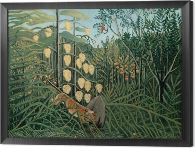 Obraz na płótnie w ramie Henri Rousseau - Walka pomiędzy tygrysem a bawołem - Reprodukcje