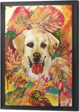 Obraz na płótnie w ramie Jesień pies. ręcznie rysowane ilustracji