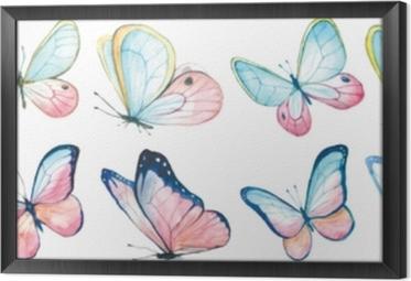 Obraz na płótnie w ramie Kolekcja akwarela latających motyli.