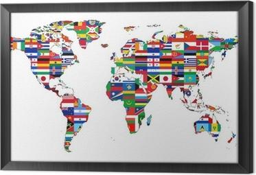 Obraz na płótnie w ramie Mapa świata z flagami