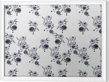 Obraz na płótnie w ramie Minimalistyczny wzór w kwiaty - Nina Ho