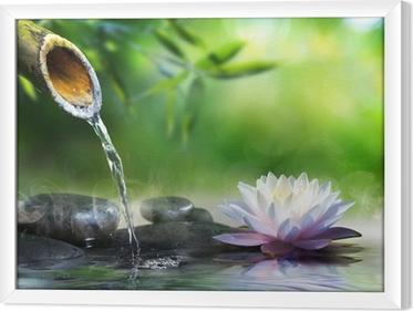 Obraz na płótnie w ramie Ogród zen kamieniami do masażu i lilii wodnej