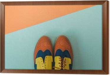 Obraz na płótnie w ramie Płaski lay zestaw mody: kolorowe vintage buty na kolorowym tle. Widok z góry.