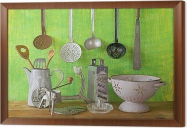 Obraz na płótnie w ramie Różne zabytkowe naczynia