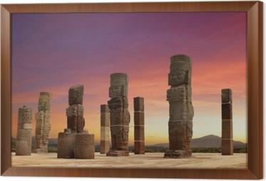 Obraz na płótnie w ramie Rzeźby Tolteków w Tula, Meksyk