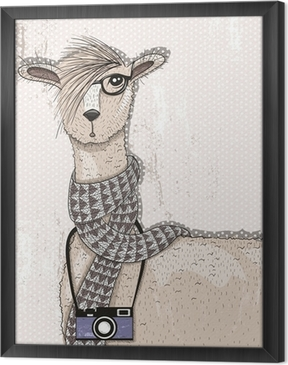 Obraz na płótnie w ramie Śliczne hipster lama z aparatu fotograficznego, okulary i szalik