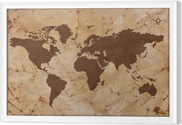 Obraz na płótnie w ramie Stara mapa świata na pogniecione i poplamione pergaminie