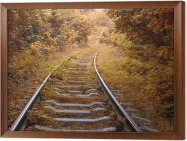 Obraz na płótnie w ramie Tor kolejowy jesienią