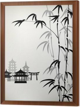 Obraz na płótnie w ramie Tusz malowane bambusa