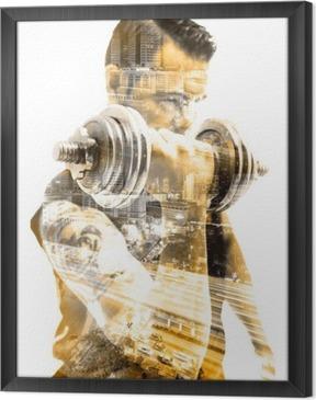 Obraz na płótnie w ramie Vida saludable y deporte.Gimnasia, siłownia y entrenamiento con pesas.Doble Exposicion