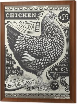 Obraz na płótnie w ramie Vintage Poultry and Eggs Advertising Page