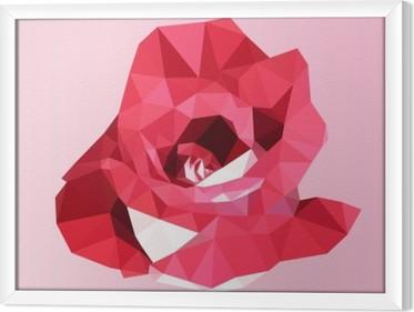 Obraz na płótnie w ramie Wielokątne czerwona róża. poli niska trójkąt geometrycznej kwiat wektora