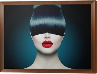 Obraz na płótnie w ramie Wysoka modelka portret dziewczyny z modnym Fringe