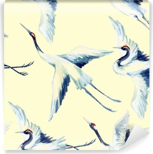 Omyvatelná Fototapeta Akvarel asijských jeřáb pták bezešvé vzor