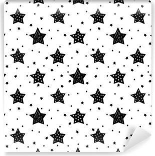 Omyvatelná Fototapeta Bezešvé černé a bílé vzor s roztomilou hvězd pro děti. Miminko vektor pozadí. Dítě styl kreslení vánočními vzor.