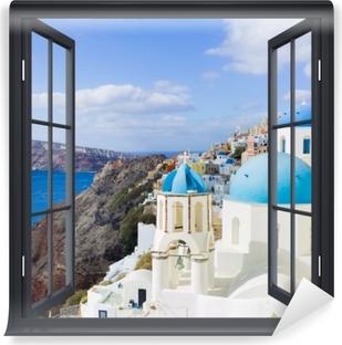 Omyvatelná fototapeta Black otevřené okno - Landscape of Santorini