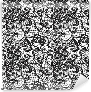 Omyvatelná Fototapeta Krajka černá Bezešvé vzor s květinami na bílém pozadí