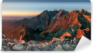 Omyvatelná Fototapeta Mountain sunset panorama z vrcholu - Slovensko Tatry