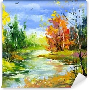 Omyvatelná Fototapeta Podzimní krajina s řekou dřeva