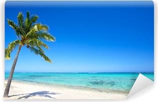 Omyvatelná Fototapeta Rajská pláž a palmy v tropickém ostrově