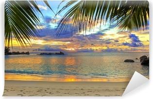 Omyvatelná Fototapeta Tropická pláž při západu slunce