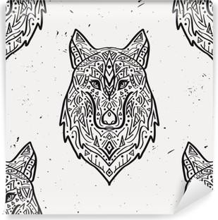 Omyvatelná Fototapeta Vektorové grunge monochromatický bezešvé vzor s kmenovým styl vlka s etnickými ornamenty. Indiána motivy. Design Boho.