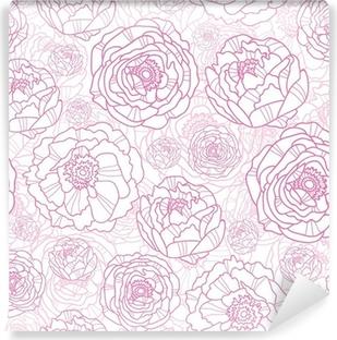 Omyvatelná Fototapeta Vektorové růžové květy PÉROVKY elegantní bezešvé vzor na pozadí