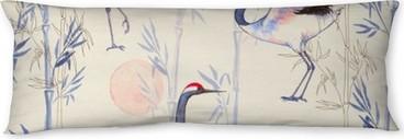 Oreiller de corps Aquarelle seamless main-dessinée avec grues blanches de danse japonaise. fond répétée avec des oiseaux délicats et bambou