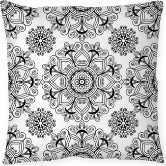 Örngott Mehndi Henna sömlös vektor bakgrund med buta dekoration objekt i indisk stil.