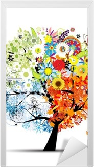 Neljä vuodenaikaa - kevät, kesä, syksy, talvi. art puu Ovitarra