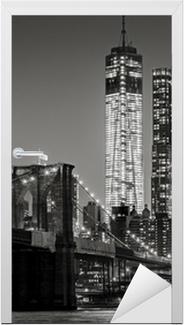 New York yöllä. brooklyn silta, alempi manhattan - musta Ovitarra