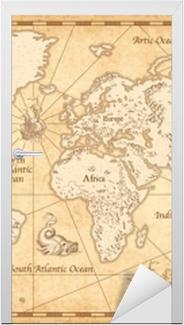 Vintage kuvitettu maailman kartta Ovitarra
