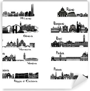 Papier peint vinyle 10 villes d'Italie - signts silhouette