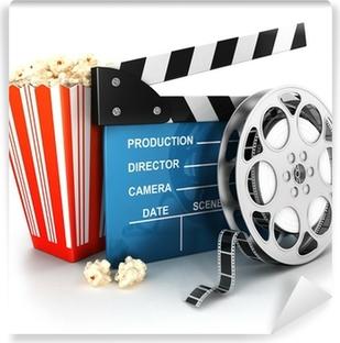 Papier peint vinyle 3d cinema clapper, bobine de film et pop-corn