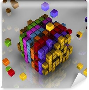 Papier peint vinyle 3d cubes