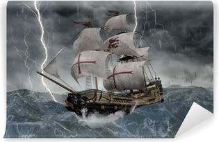 Papier peint vinyle 3D galion de bateau de navigation dans les mers orageuses