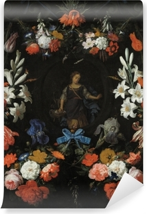 Papier peint vinyle Abraham Mignon - Garland of Flowers