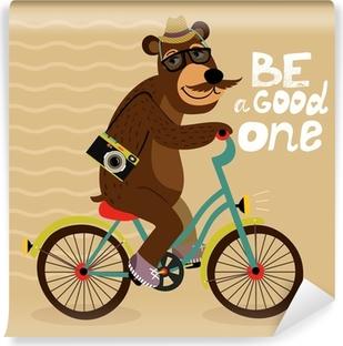 Papier peint vinyle Affiche Hipster avec un ours de geek