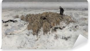 Papier peint vinyle Anton Mauve - Troupeau de moutons avec berger dans la neige