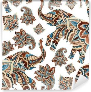 Papier Peint Vinyle Aquarelle éléphant ethnique avec des éléments de paisley background.