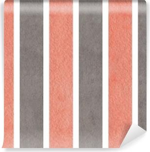 Papier peint vinyle Aquarelle fond rayé rose et gris.