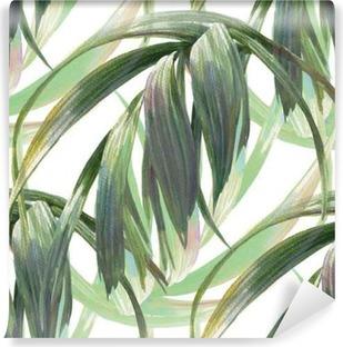 Papier peint vinyle Aquarelle illustration de feuille, motif sans couture sur fond blanc