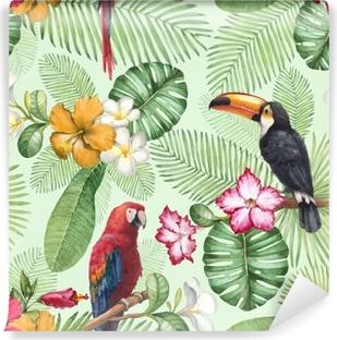 Papier peint vinyle Aquarelle toucan et perroquet. modèle sans couture
