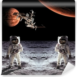 Papier peint vinyle Astronautes Spaceman Lune Planètes