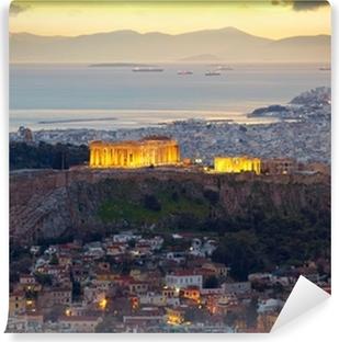 Papier peint vinyle Athènes, Grèce. Après le coucher du soleil. Parthénon et Herodium CONSTRUCTION