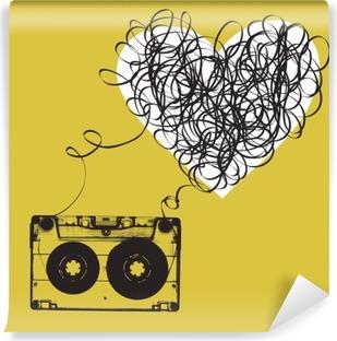 Papier peint vinyle Audiocassette avec du ruban emmêlés. forme Haert