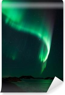 Papier peint vinyle Aurores boréales sur le lac gelé Myvatn en Islande